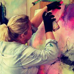Rikke Kjelgaard making art